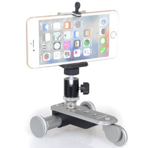 Kingjoy New Design Aluminum CNC Machined High Precision Electronic 3-wheel Auto-dolly For Photography Smartphone Camera